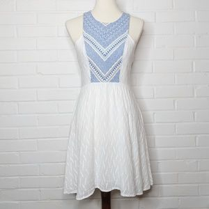 Flying Tomato Embroidered Dress Blue & White M